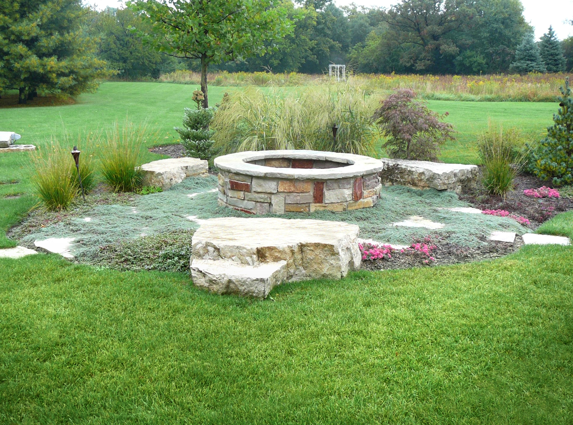 This chilton stone firepit will be enjoyed well into the autumn months.