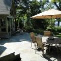 Patio with ample space for dining set with umbrella