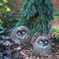 Garden art - cast stone carved owls